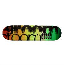 Groom; Vibrant Green, Orange, & Yellow Skateboard