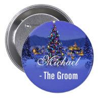 Groom, vintage Christmas tree snowy night   Buttons