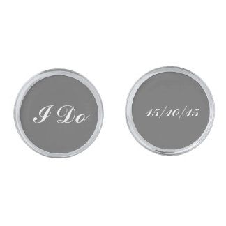Groom wedding date cufflinks
