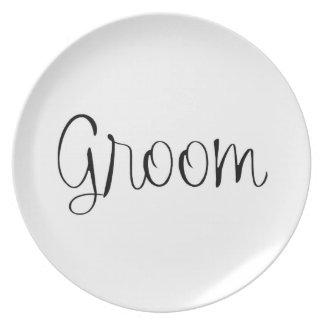 """Groom"" Wedding plate"