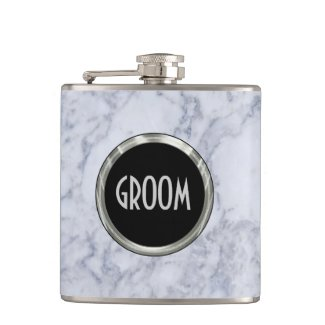Groom White Marble Stone Print Flasks