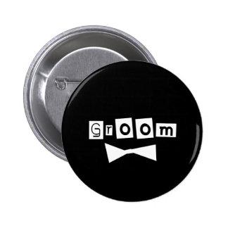 Groom White on Black 2 Inch Round Button