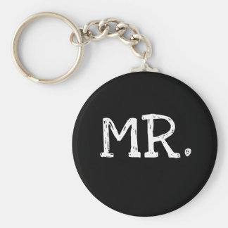 Groom White Text Mr. Basic Round Button Keychain