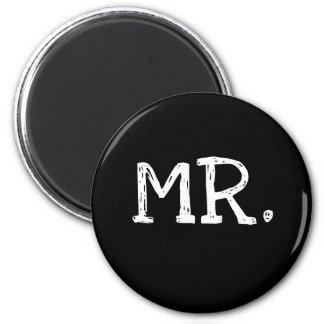 Groom White Text Mr. 2 Inch Round Magnet