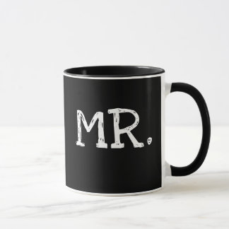 Groom White Text Mr. Mug