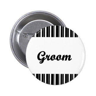 groom with black and white stripes pinback button