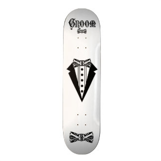 Groom with Bow Tie and Tux and Black Type Skateboards