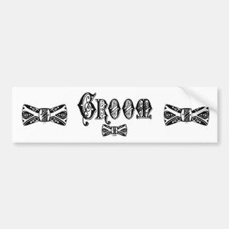 Groom with Bow Tie Black Type Bumper Sticker