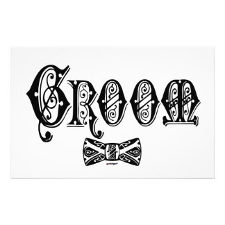 Groom with Bow Tie Black Type Stationery Paper