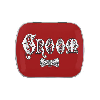 Groom with Bow Tie White and Black Type Candy Tin
