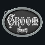 """Groom with Bow Tie White and Black Type Oval Belt Buckle<br><div class=""""desc"""">Customize The Background To Your Favorite Color!</div>"""