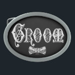 "Groom with Bow Tie White and Black Type Oval Belt Buckle<br><div class=""desc"">Customize The Background To Your Favorite Color!</div>"