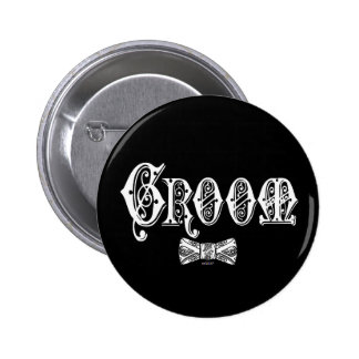 Groom with Bow Tie White and Black Type Pinback Button