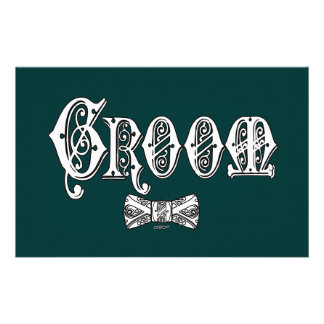 Groom with Bow Tie White and Black Type Stationery Design