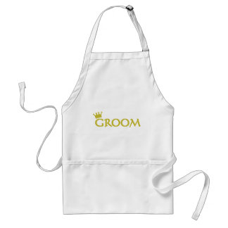 groom with crown icon adult apron