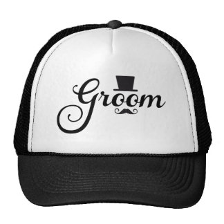 Groom with hat and mustache, word art text design