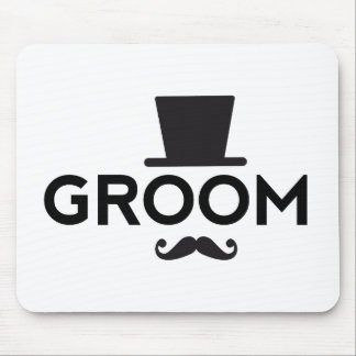 Groom with hat and mustache, word art text design mouse pad