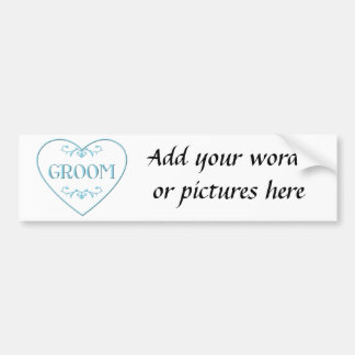 Groom (with heart and flourishes) bumper sticker