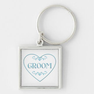 Groom (with heart and flourishes) Silver-Colored square keychain