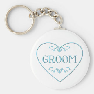 Groom (with heart and flourishes) basic round button keychain