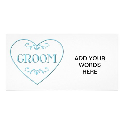 Groom (with heart and flourishes) personalized photo card