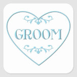 Groom (with heart and flourishes) square sticker