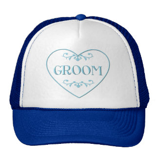 Groom (with heart and flourishes) trucker hat