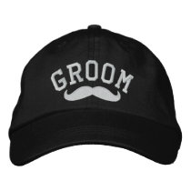 Groom with Mustache Embroidered Baseball Cap