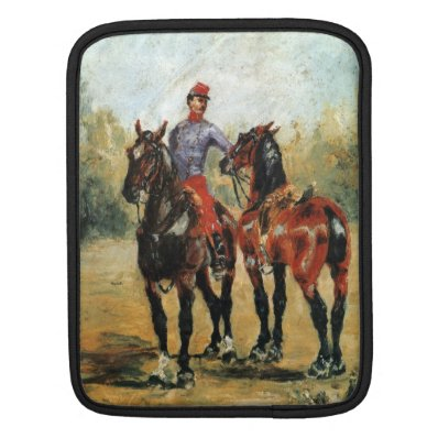 Groom with Two Horses by Toulouse-Lautrec iPad Sleeves