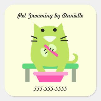 Groomer del mascota promocional colcomanias cuadradas