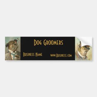 Groomers del perro del vintage del negocio de la p pegatina para auto