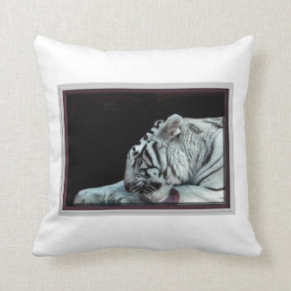Grooming White Tiger Throw Pillow