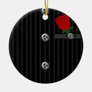 Grooms Black Gray Pinstripe Suit HIS Ornament