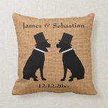 Grooms Black Labradors Personalized Gay Wedding Throw Pillows