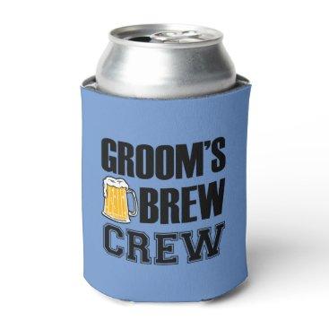 worksaheart Groom's Brew Crew funny groomsman beer Can Cooler