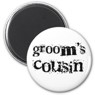 Groom's Cousin Black Text Refrigerator Magnet