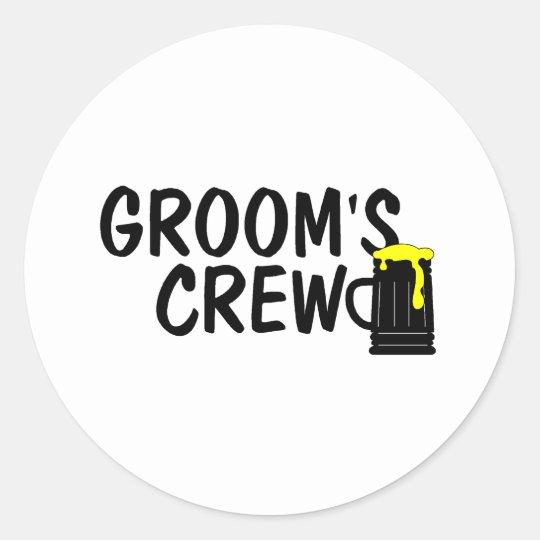 Grooms Crew Beer Classic Round Sticker