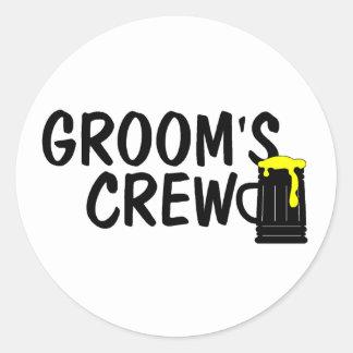 Grooms Crew (Beer) Classic Round Sticker