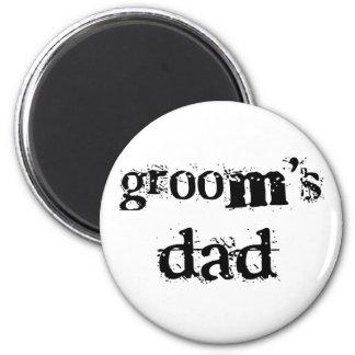 Groom's Dad Black Text 2 Inch Round Magnet