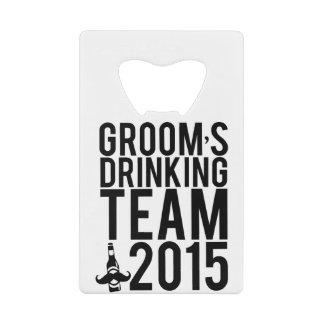 Groom's drinking team 2015 credit card bottle opener