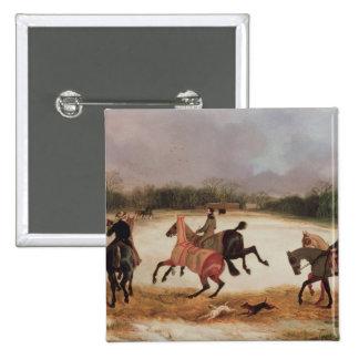 Grooms exercising racehorses button