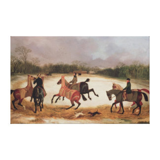 Grooms exercising racehorses canvas print