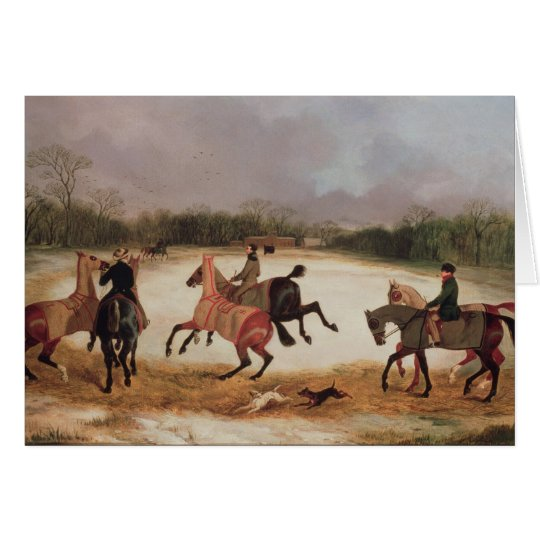 Grooms exercising racehorses card