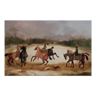 Grooms exercising racehorses poster