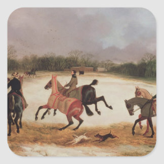 Grooms exercising racehorses square sticker
