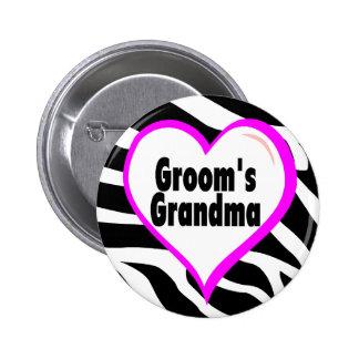 Grooms Grandma (Heart Zebra Stripes) 2 Inch Round Button