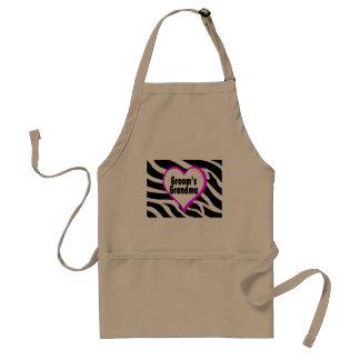 Grooms Grandma (Heart Zebra Stripes) Adult Apron