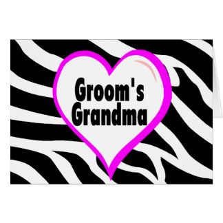 Grooms Grandma (Heart Zebra Stripes) Card