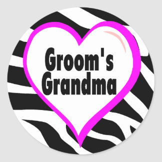Grooms Grandma (Heart Zebra Stripes) Classic Round Sticker
