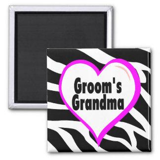 Grooms Grandma (Heart Zebra Stripes) Magnets
